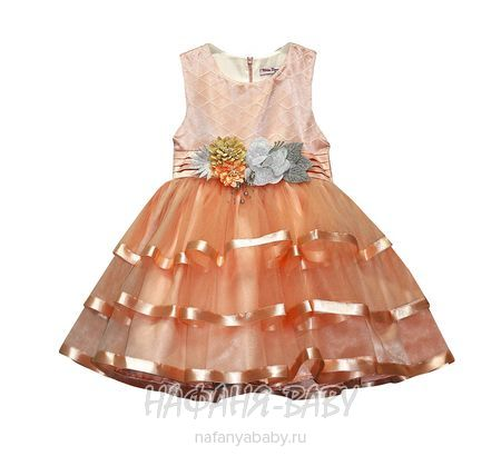Детское нарядное платье Miss BONNY арт: 0065, 5-9 лет, цвет персиковый, оптом Турция