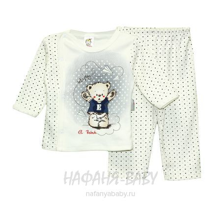 Комплект для новорожденных (распашонка+брюки) EL BEBEK арт: 0140, 0-12 мес, цвет кремовый с синим, оптом Турция