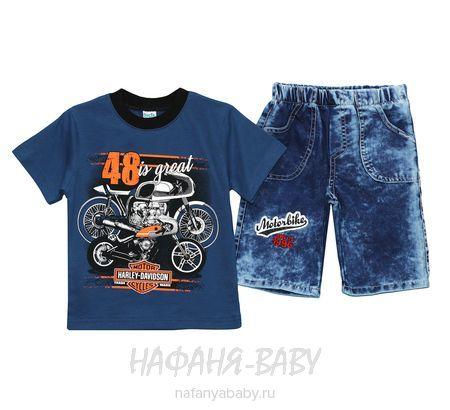 Детский костюм (футболка+джинсовые шорты) INCIX арт: 0219, 5-9 лет, цвет сине-серый, оптом Турция