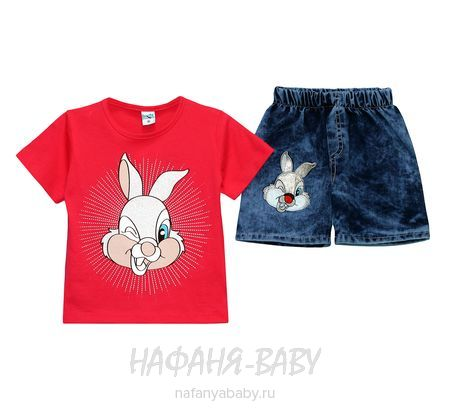 Детский комплект (футболка+джинсовые шорты) INCIX арт: 0231, 1-4 года, цвет малиновый, оптом Турция