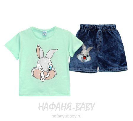 Детский комплект (футболка+джинсовые шорты) INCIX арт: 0231, 1-4 года, цвет аквамариновый, оптом Турция
