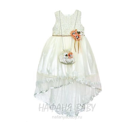 Детское платье MISS MARINE арт: 0574, штучно, 5-9 лет, цвет молочный, размер 134, оптом Турция