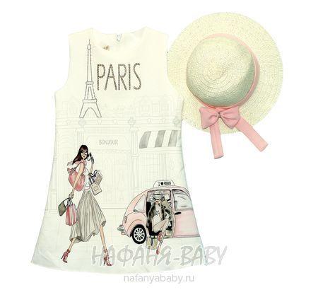 Детское нарядное платье + шляпка CREMIX арт: 0881, 5-9 лет, цвет молочный, оптом Турция