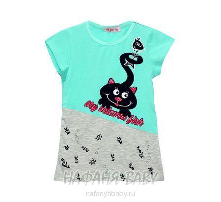 Детская футболка LILY Kids арт: 3607, 5-9 лет, цвет аквамариновый, оптом Турция
