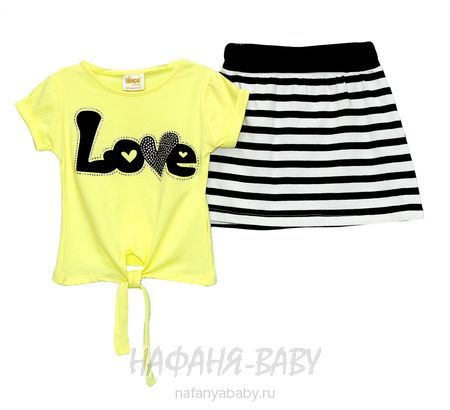 Детский костюм (футболка+юбка) DECO арт: 247, 1-4 года, 5-9 лет, цвет желтый, оптом Турция
