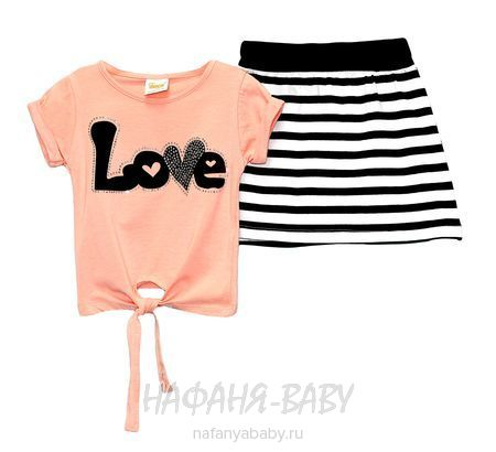 Детский костюм (футболка+юбка) DECO арт: 247, 1-4 года, 5-9 лет, цвет персиковый, оптом Турция
