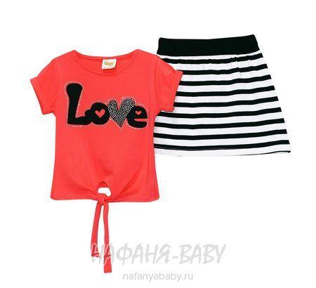 Детский костюм (футболка+юбка) DECO арт: 247, 1-4 года, 5-9 лет, цвет коралловый, оптом Турция