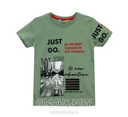 Детская футболка F.K. арт: 1357, 5-9 лет, цвет темно-зеленый хаки, оптом Турция