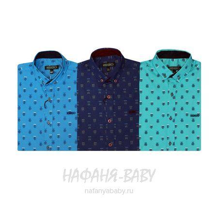 Подростковая рубашка с длинным рукавом KENZO арт: 14152, штучно, 10-15 лет, цвет бирюзовый, размер 158, оптом Турция