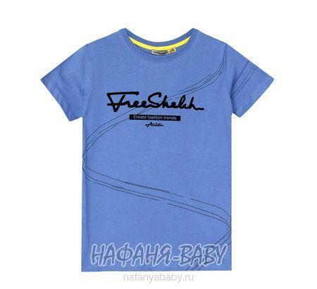 Подростковая футболка F.K. арт: 1502, 10-15 лет, 5-9 лет, цвет сине-серый, оптом Турция