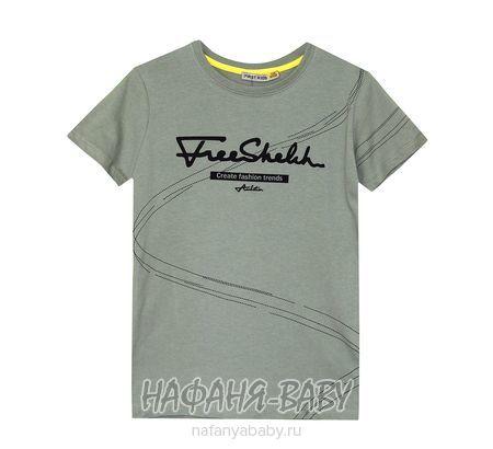 Подростковая футболка F.K. арт: 1502, 10-15 лет, 5-9 лет, цвет темный защитный хаки, оптом Турция