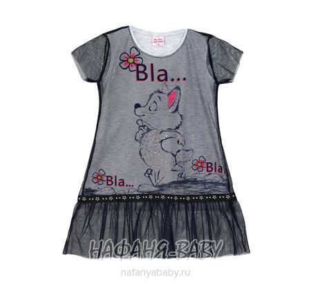 Детское платье BY GRI арт: 18345, 5-9 лет, цвет серый меланж, оптом Турция
