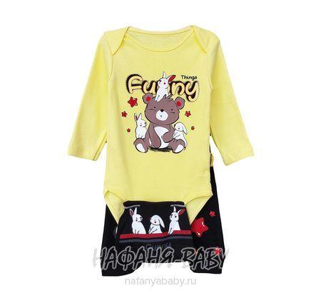 Детский комплект (боди+брючки+ шапочка)  SEKERCIX арт: 20003, 0-12 мес, цвет желтый, оптом Турция