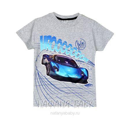 Детская футболка с мигающими элементами BY GRI арт: 20255, 5-9 лет, цвет серый меланж, оптом Турция