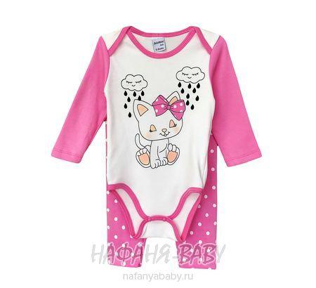 Детский комплект (боди+лосины) BABY WOOD арт: 2067, 0-12 мес, цвет розовый, оптом Турция