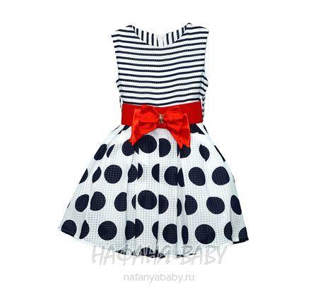 Детское платье VIKTORIA арт: 2237, 5-9 лет, 10-15 лет, цвет белый с темно-синим, оптом