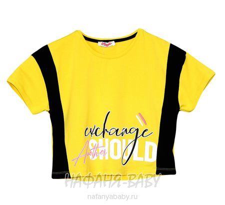 Модный кроп-топ MONILI арт: 3037, 10-15 лет, 5-9 лет, цвет желтый, оптом Турция