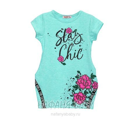 Детское платье-туника Lily Kids арт: 4505, штучно, 5-9 лет, цвет бирюзовый меланж, размер 110, оптом Турция
