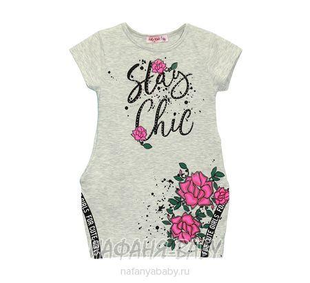 Детское платье-туника Lily Kids арт: 4505, штучно, 5-9 лет, цвет бежевый меланж, размер 110, оптом Турция