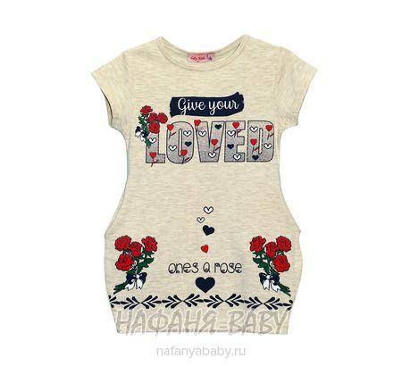 Детское платье-туника Lily Kids арт: 4516, штучно, 5-9 лет, цвет бежевый меланж, размер 110, оптом Турция