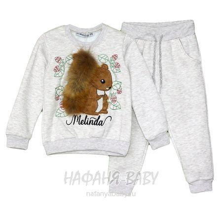 Теплый костюм (свитшот + брюки) Miss Melinda арт: 5202, 1-4 года, 5-9 лет, цвет бежевый меланж, оптом Турция