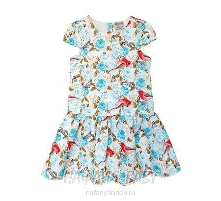 Детское платье BIDIRIK арт: 671, штучно, 5-9 лет, 1-4 года, цвет с лазурными цветами, размер 104, оптом Турция