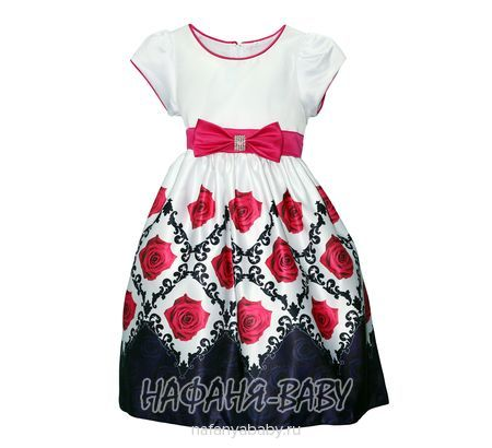 Детское нарядное платье  YOU YITAO арт: 16957, штучно, 5-9 лет, 10-15 лет, цвет белый с розовыми цветами, низ темно-синий, размер 110-116, оптом Китай (Пекин)