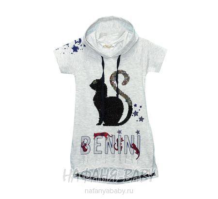 Туника с капюшоном BENINI арт: 7305, 5-9 лет, цвет серый меланж, оптом Турция