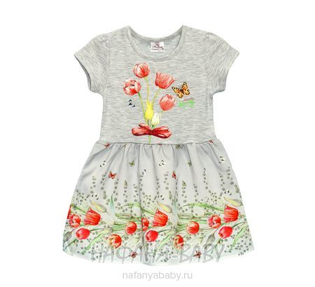 Детское платье Miss Feriha арт: 735, 5-9 лет, 1-4 года, цвет серый меланж, оптом Турция