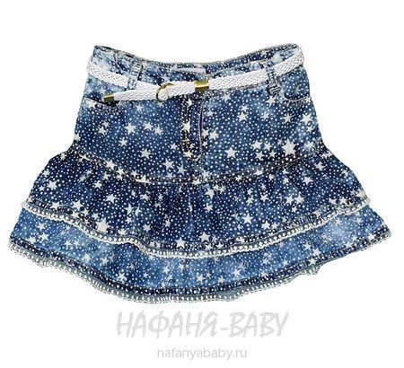 Летняя джинсовая юбка SANI арт: 9135, 1-4 года, 5-9 лет, цвет синий, оптом Турция
