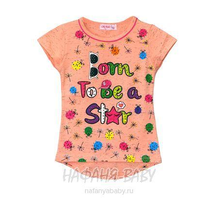 Детская футболка LILY Kids арт: 3500, 1-4 года, 5-9 лет, цвет персиковый меланж, оптом Турция