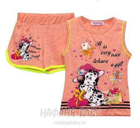 Детский комплект (майка+шорты) LILY Kids арт: 3547, штучно, 1-4 года, цвет персиковый меланж, размер 98, оптом Турция