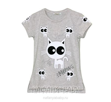 Детская футболка BENINI арт: 8252, 10-15 лет, цвет бежевый меланж, оптом Турция