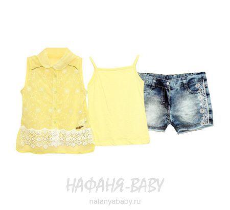 Детский комплект (блузка+майка+джинсовые шорты) MISS MARINE арт: 0527, 5-9 лет, 1-4 года, цвет желтый с синим, оптом Турция