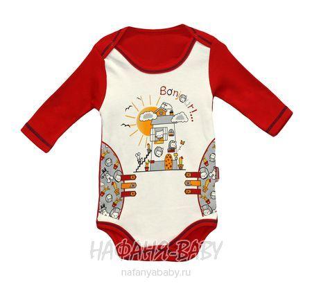 Боди для новорожденных с длинным рукавом PABBUK арт: 4623, 0-12 мес, цвет молочный с красным, оптом Турция