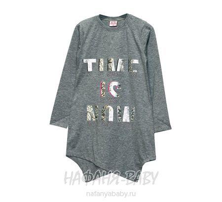 Детская трикотажная туника BY GRI арт: 12225, штучно, 5-9 лет, цвет серый меланж, размер 128, оптом Турция