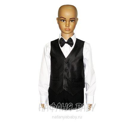 Детский костюм-тройка (жилет+рубашка+бабочка+брюки) YOUNG DANDY арт: 226, 1-4 года, 5-9 лет, цвет черный в белую крапинку, оптом Китай (Пекин)
