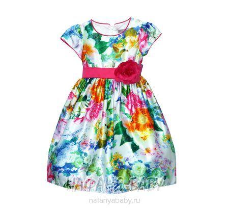 Детское платье AZ.Buka арт: 1603, 5-9 лет, 10-15 лет, цвет белый с синими цветами, оптом Китай (Пекин)