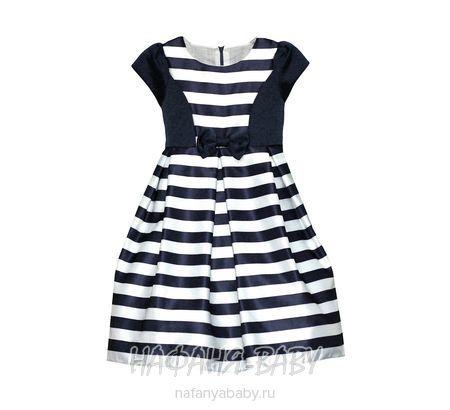Детское нарядное платье YOU YA арт: 1512, штучно, 5-9 лет, цвет темно-синий в полоску, размер 116-122, оптом Китай (Пекин)