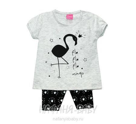 Детский комплект для девочки (туника+велосипедки) BABY Sport арт: 1874, 0-12 мес, 1-4 года, цвет туника черный, велосипедки серый меланж, оптом Турция