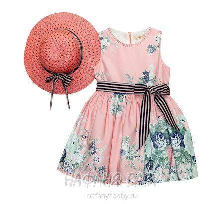 Детское платье + шляпка MOONSTAR арт: 1214, 1-4 года, 5-9 лет, цвет розовый, оптом Турция