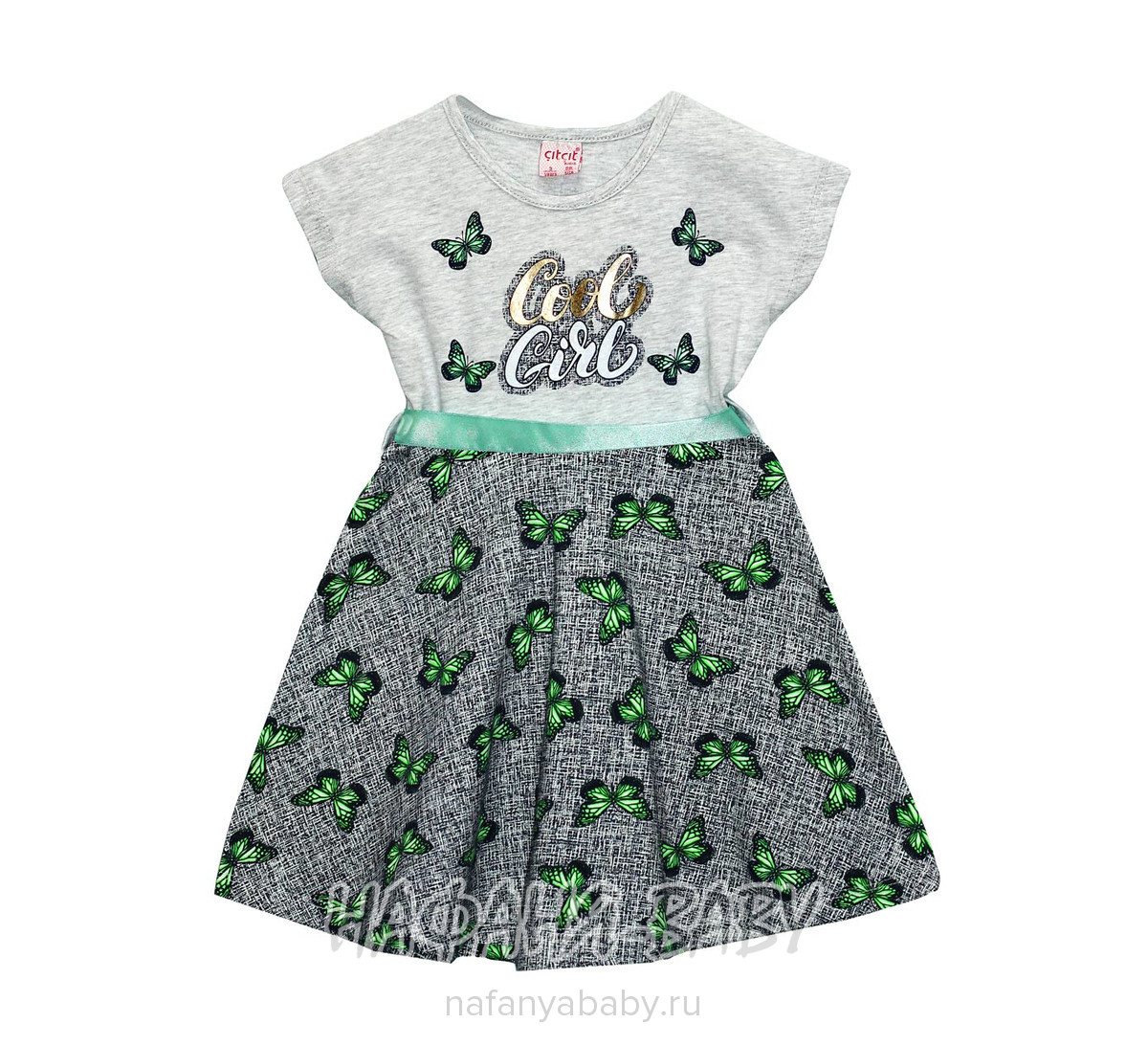Детское платье, артикул 4132 Cit Cit арт: 4132, цвет серый меланж с персиковым, оптом Турция