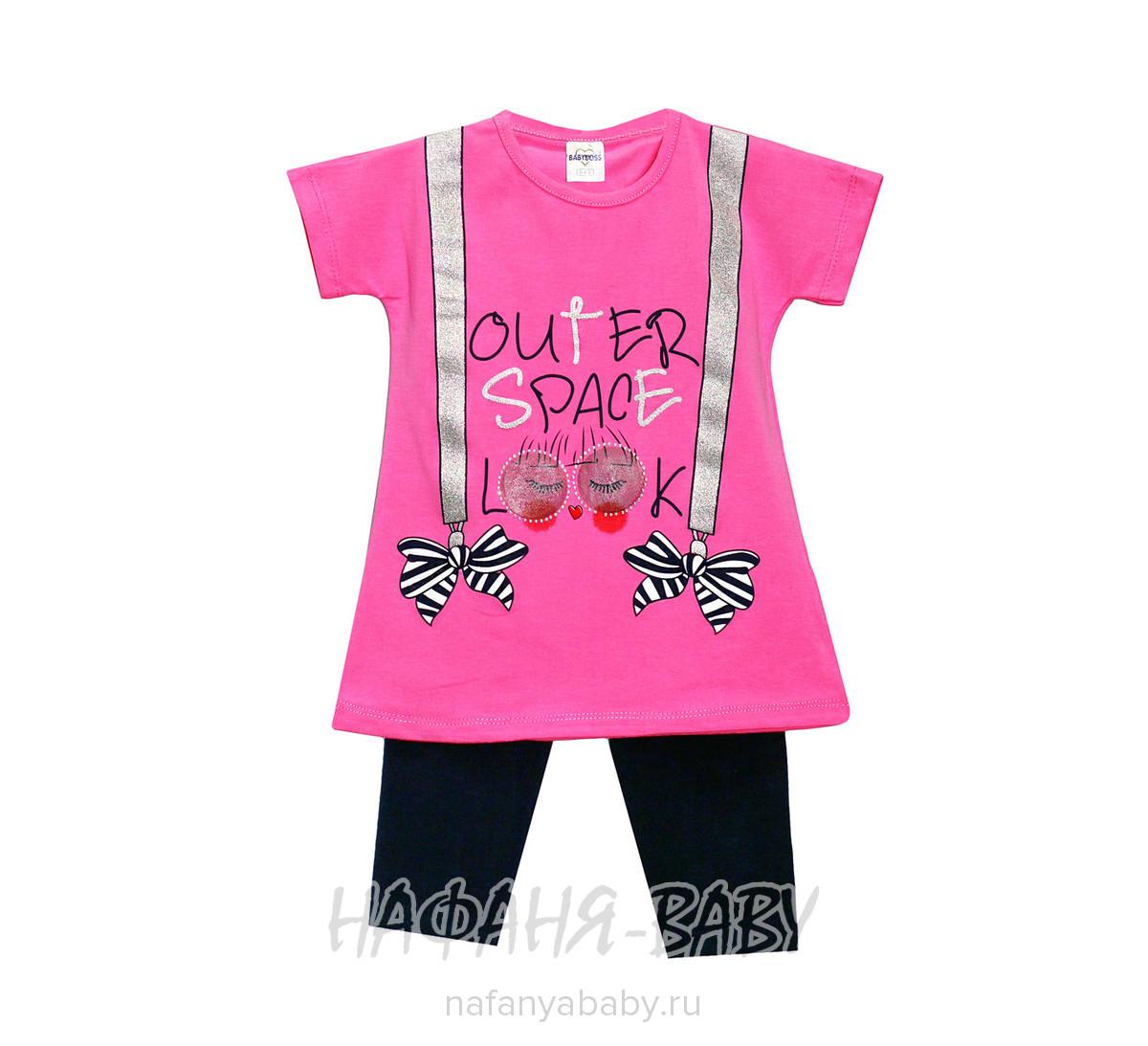 Детский костюм, артикул 4002 BABY BOSS арт: 4002, 1-4 года, 5-9 лет, цвет футболка- персиковый, лосины- сине-серый, оптом Турция