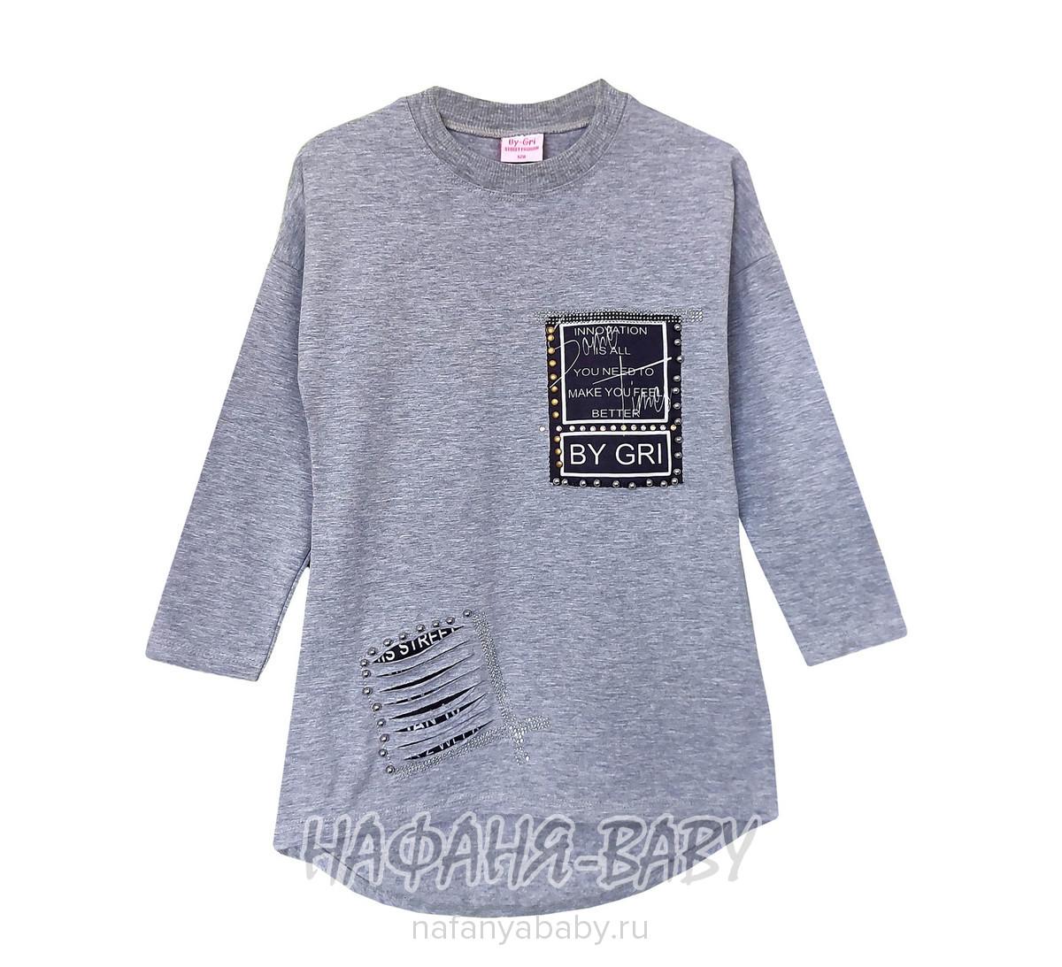 Детская трикотажная туника BY GRI арт: 13650, 10-15 лет, 5-9 лет, цвет серый меланж, оптом Турция