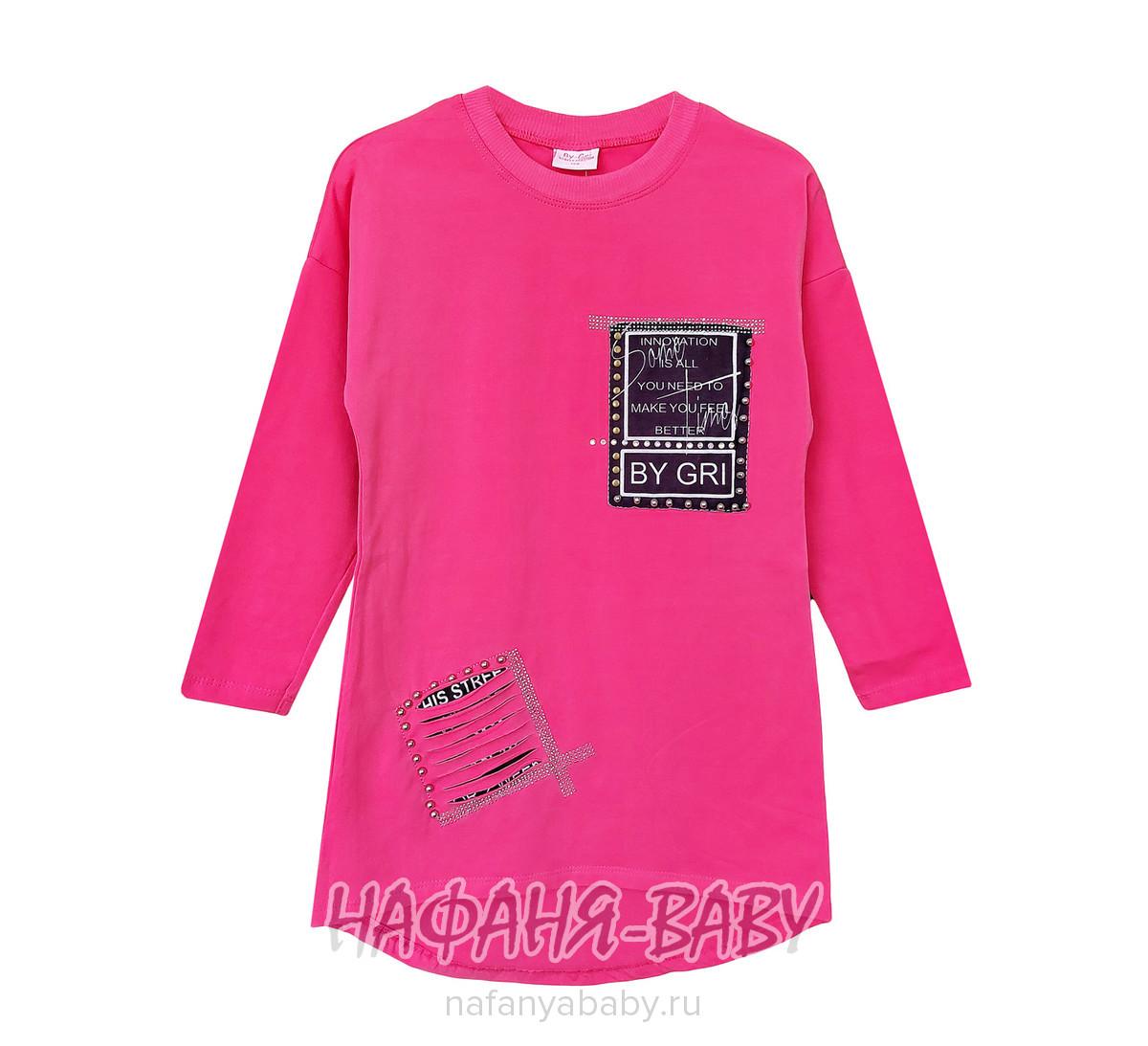 Детская трикотажная туника BY GRI арт: 13650, 10-15 лет, 5-9 лет, цвет розовый, оптом Турция