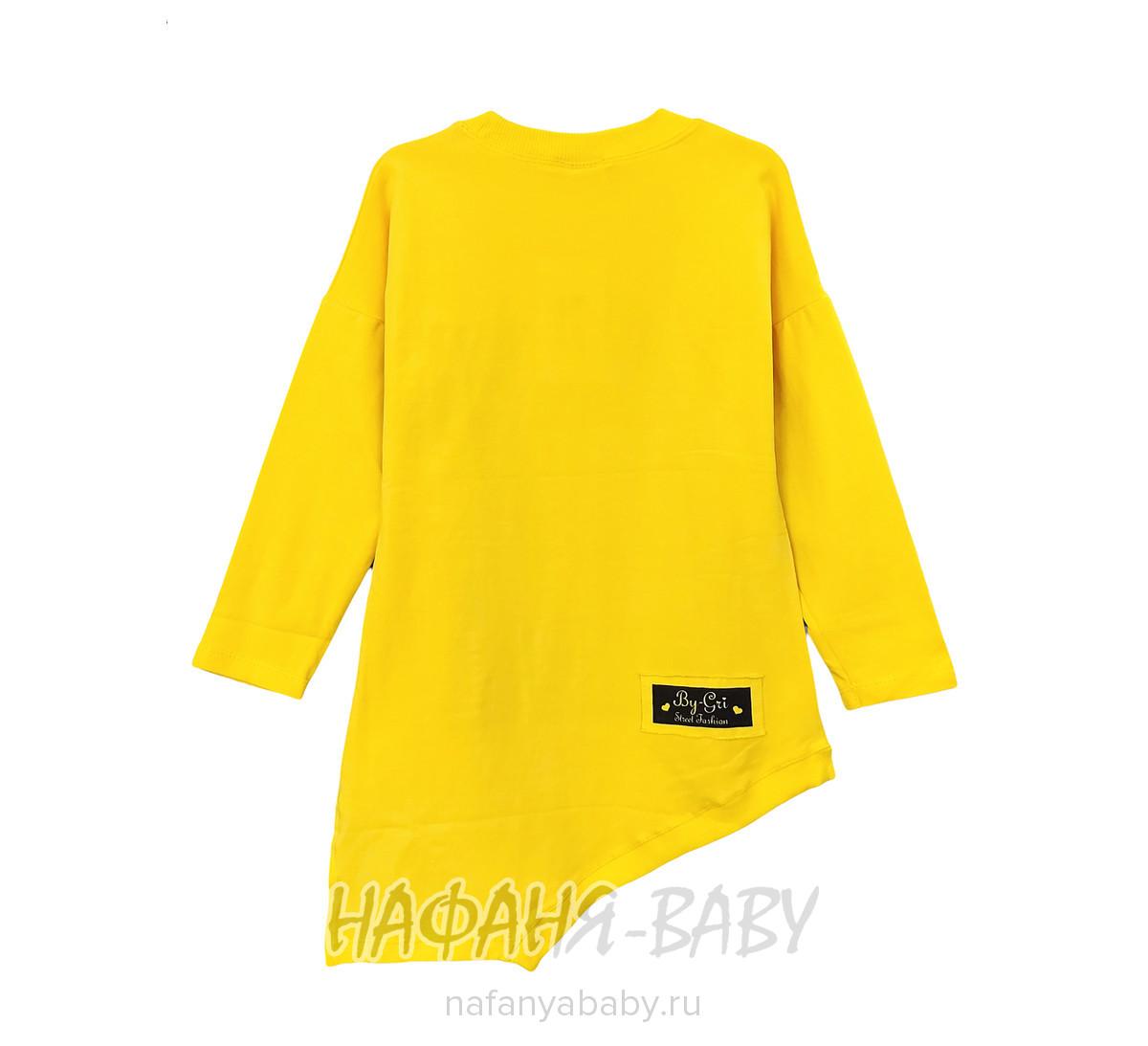 Подростковая туника с длинным рукавом BY GRI арт: 14145, 10-15 лет, 5-9 лет, цвет желтый, оптом Турция