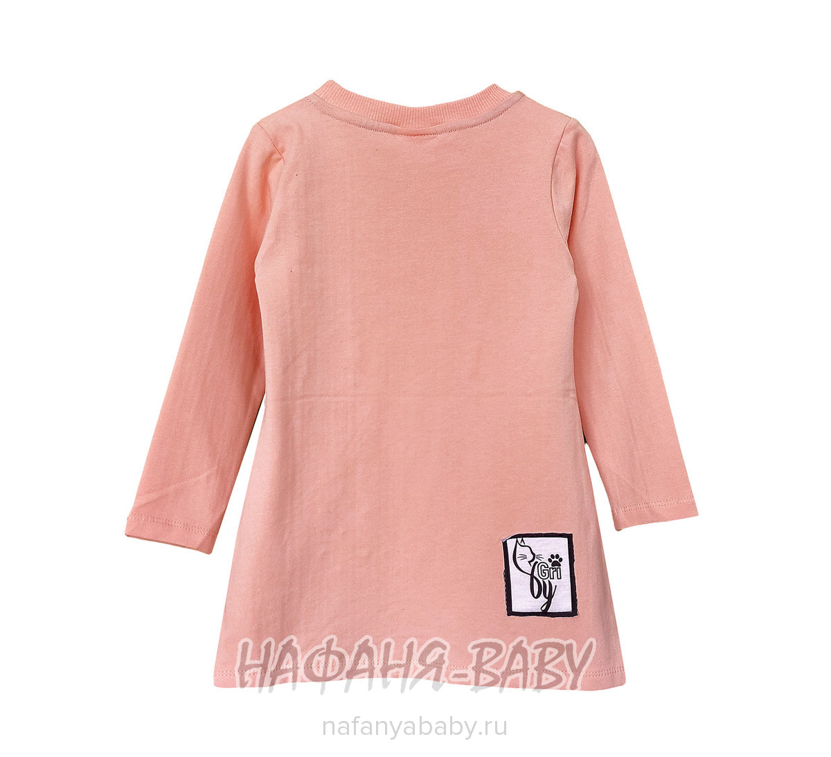 Детская трикотажная платье-туника BY GRI арт: 14555, 5-9 лет, цвет персиковый, оптом Турция