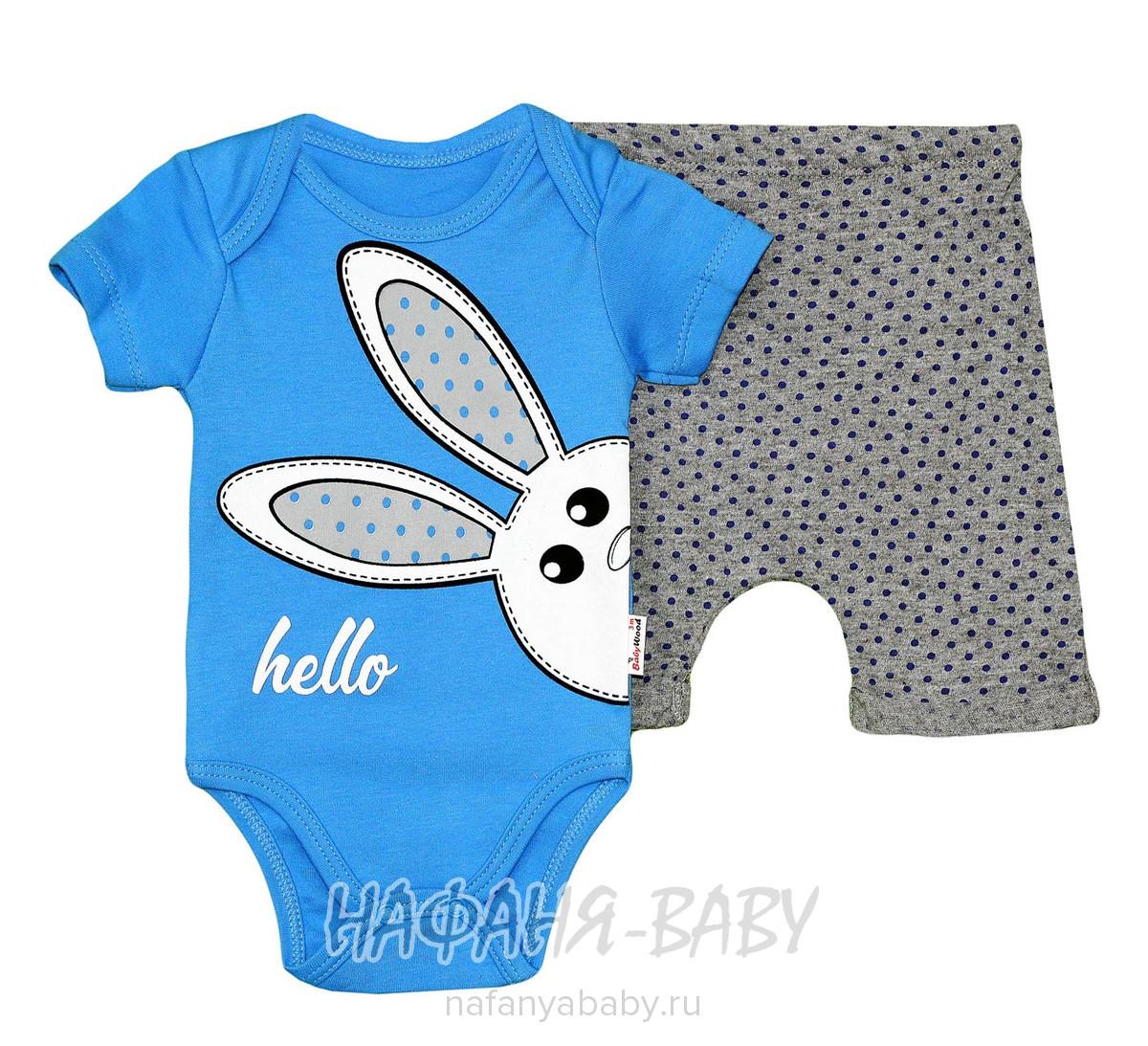 Детский комплект (боди + шорты)  Baby WOOD арт: 21132, 0-12 мес, цвет синий, оптом Турция