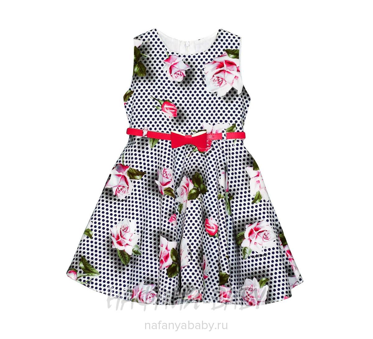 Детское платье GAMZELIM арт: 1102, 5-9 лет, цвет белый в темно-синий горошек, оптом Турция