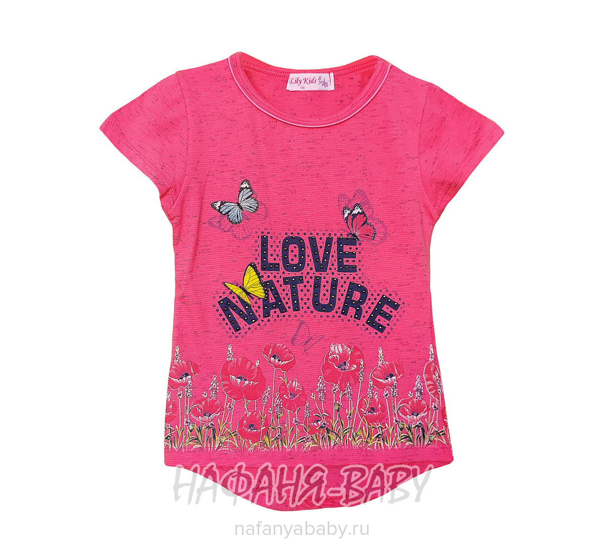 Детская футболка LILY Kids арт: 3507, 5-9 лет, 1-4 года, цвет малиновый меланж, оптом Турция